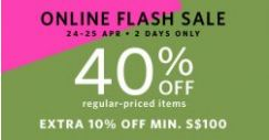 Esprit: Online Flash Sale with 40% OFF Regular-Priced Items + Extra 10% OFF with Min. Spend of $100!