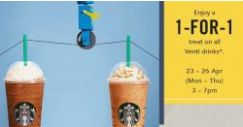 Starbucks: Enjoy 1-for-1 Venti Handcrafted Beverage from 3pm to 7pm!