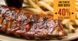 Tony Roma's: Enjoy Up to 40% OFF Half Slab of Baby Back Ribs when You Show This EDM!