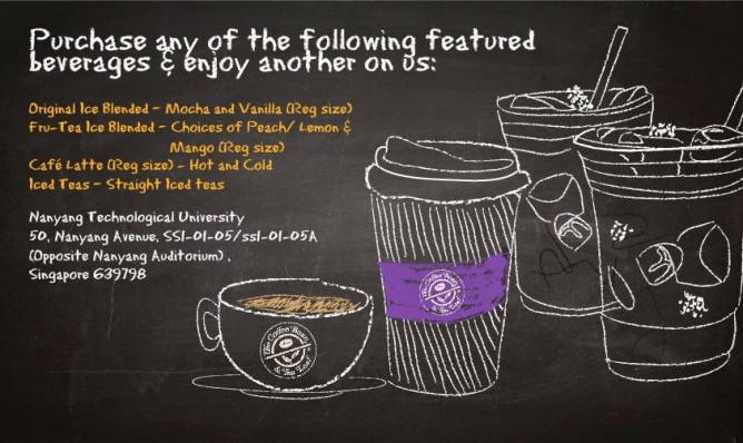 The Coffee Bean & Tea Leaf 1 For 1 Offer for NTU Students and Employees (till 9 may 2014)