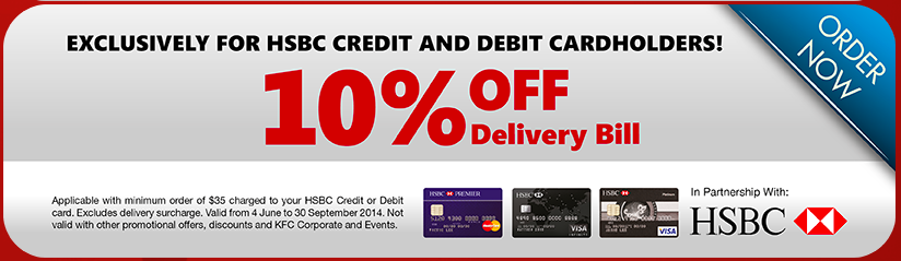 KFC Singapore | 10% OFF Delivery Bill For HSBC cardholders