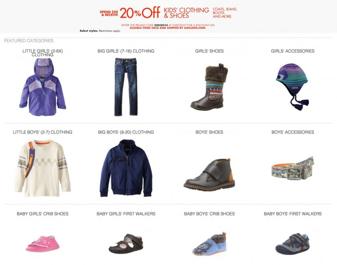 Amazon Coupon | 20% OFF Kids' Clothing and Shoes