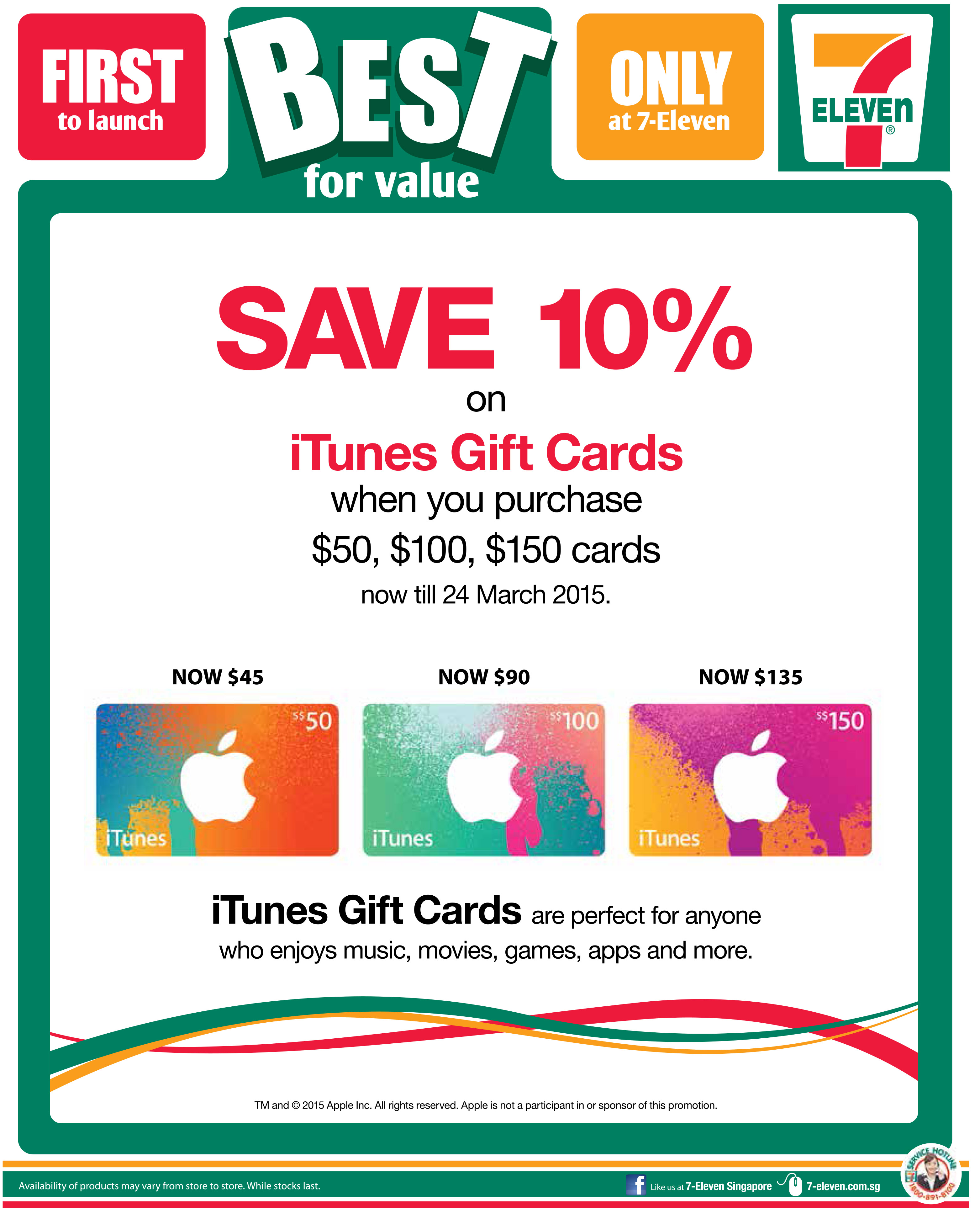 Save 10% on iTunes Gift Cards @ 7-11 Till 24 Mar. 2015 -