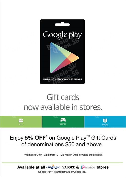 Off On Google Play Gift Cards For Valueclub Members    F F  Bq Sg Bargainqueen