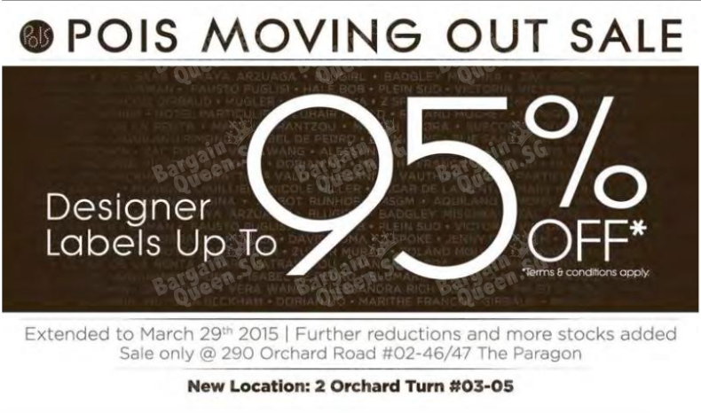 Moving out sale designers labels up to 95% off @ Pois Till