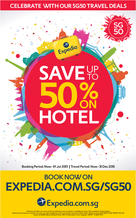 Expedia: SG50 Celebration Special - up to 50% OFF till 14 July 2015