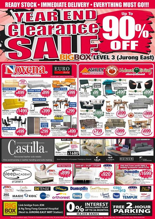 Year End Clearance Sale At Big Box Level 3! Up To 90% Off On Renowned  Furniture Brands Such As Novena, Natural Living, Ashley, Barang Barang And  Castilla.