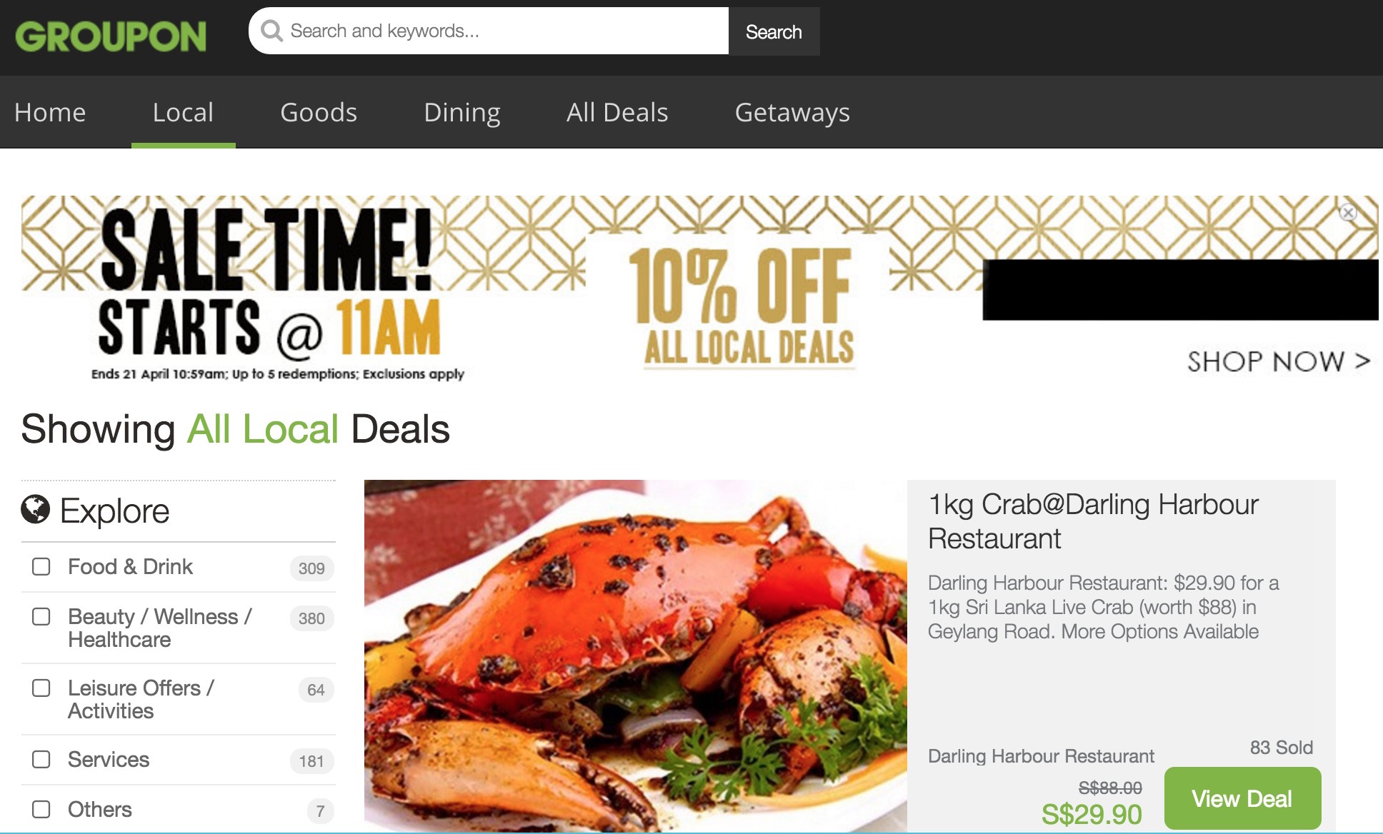 Groupon: Coupon Code for Extra 10% OFF on All Local Deals
