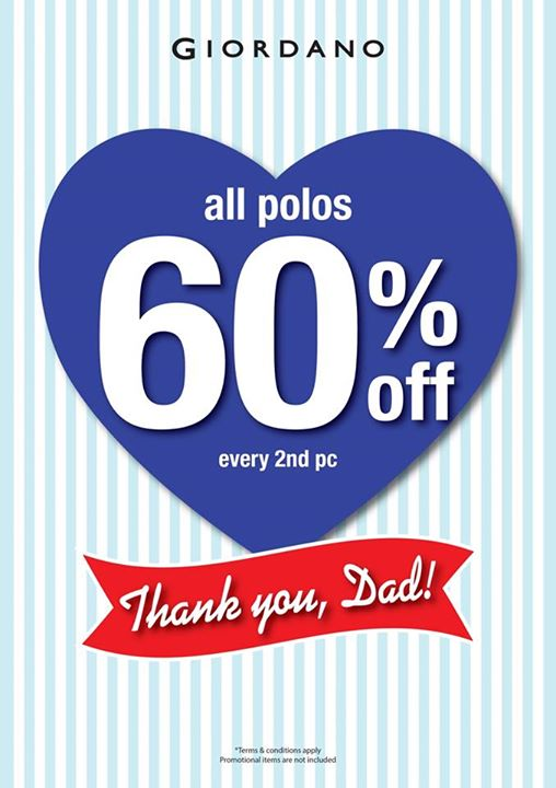 Giordano: Father's Day Promotion - 60% off every 2nd pc for