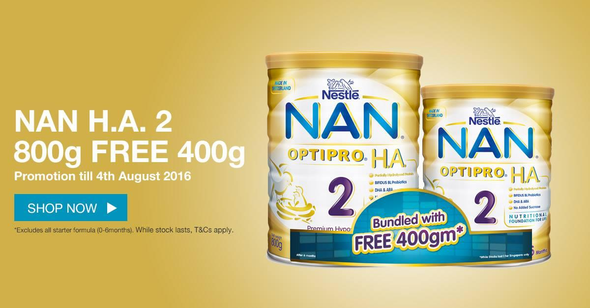 Lazada: Get a FREE 400g tin of NAN OPTIPRO H A  2 when you buy a