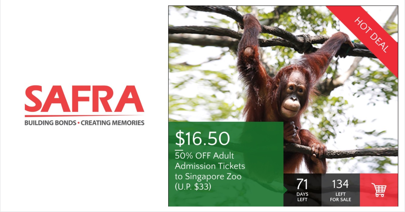Safra: Enjoy 50% off Adult admission tickets to Singapore Zoo! Till 31 Mar  2017 -  <div class=