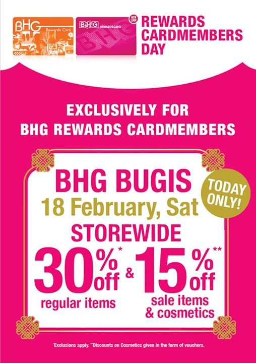 19112277c7bce [BHG Singapore] Hurry down to BHG Bugis for our Rewards Cardmembers Day for  1 Day Only! Enjoy storewide 30%* off regular items - 👑BQ.sg BargainQueen