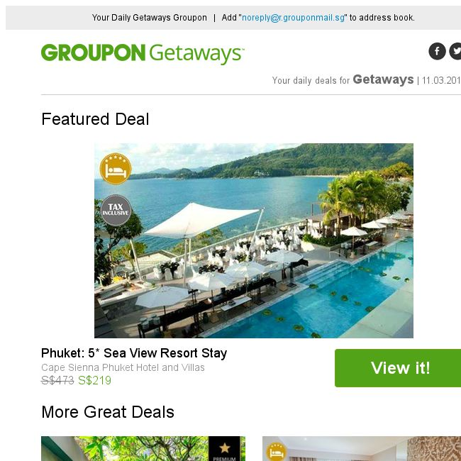 Groupon] Phuket: 5* Sea View Resort Stay / Bali: 5* Kanishka