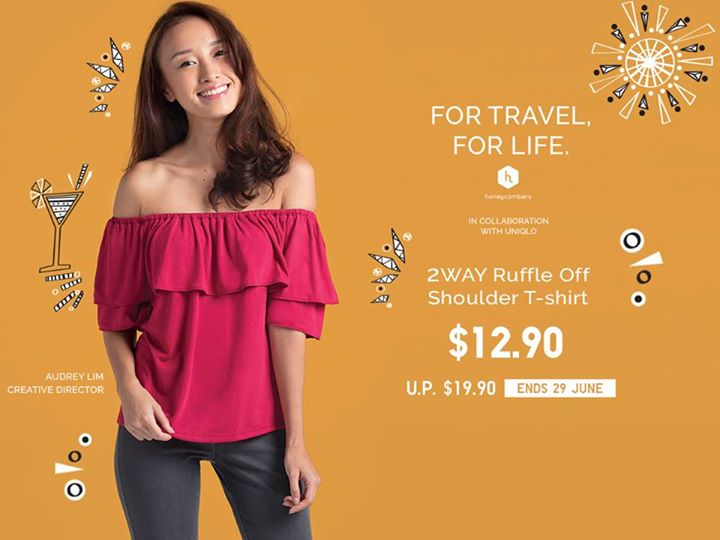 aba99ee836d [Uniqlo Singapore] Stay trendy and comfortable while travelling with our  versatile Women's 2WAY Ruffle Off Shoulder T-shirt.