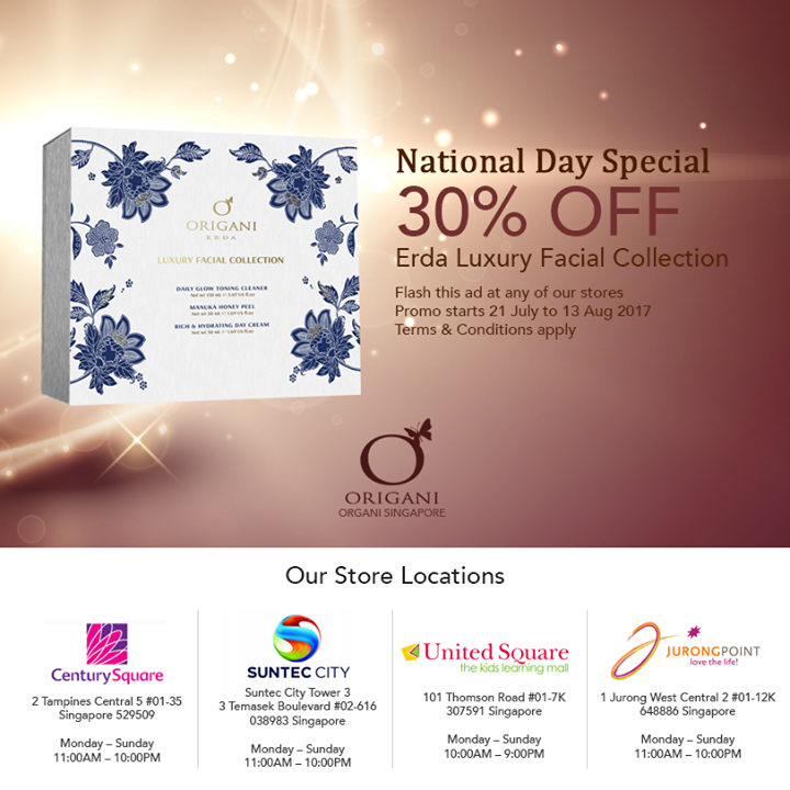 464d668449d -This is valid from 21 July to 13 Aug 2017 -Promo valid only for Erda  Luxury Facial Collection -Check with individual stores for more details