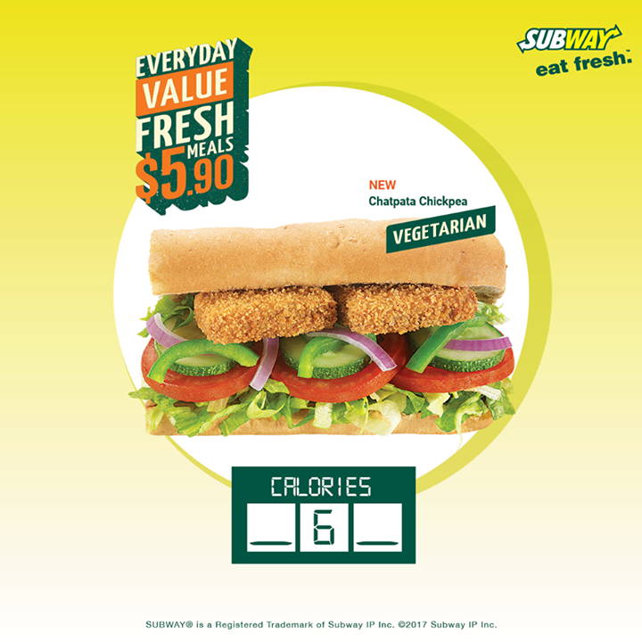 [Subway Singapore] What's the calorie count of the Chatpata Chickpea?