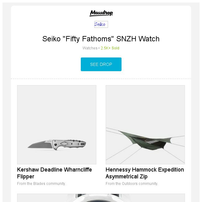massdrop  seiko   fifty fathoms   snzh watch kershaw deadline wharncliffe flipper hennessy hammock expedition asymmetrical zip and more  massdrop  seiko   fifty fathoms   snzh watch kershaw deadline      rh   bq sg