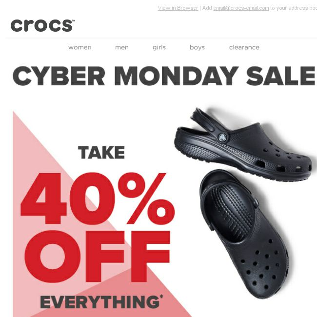 c8bf54342  Crocs Singapore  40 % OFF Crocs  CYBER MONDAY MADNESS starts now! 24 hours  only! Happy Cyber Monday! - 👑BQ.sg BargainQueen