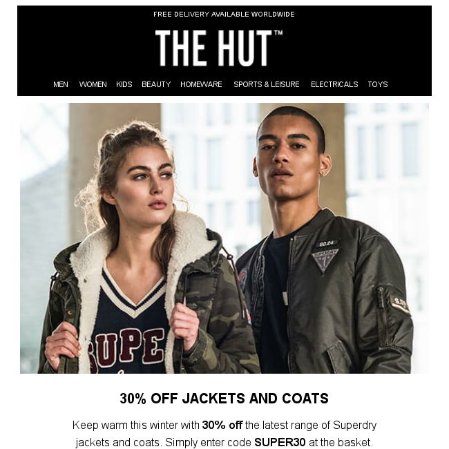 d1ff23fdae7b  The Hut  Stay warm with 30% off Superdry Coats   Jackets - 👑BQ.sg  BargainQueen