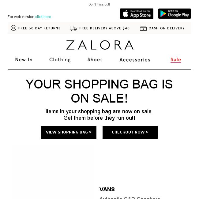 zalora your shopping bag items are on sale bq sg bargainqueen