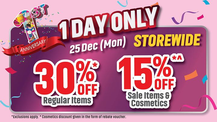 bf386320191d4 [BHG Singapore] Enjoy 30% off Regular Items and 15% off Sales Items &  Cosmetics exclusively at BHG Jurong, TODAY ONLY!