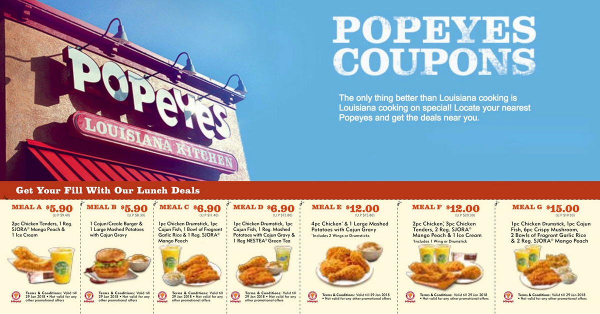 fast food singapore promos sales discount coupon code