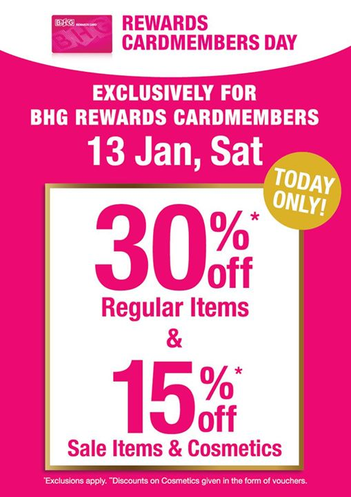 59e00a23e8f78 [BHG Singapore] Come on down to our BHG Rewards Cardmember Sale at all BHG  Stores today! - 👑BQ.sg BargainQueen