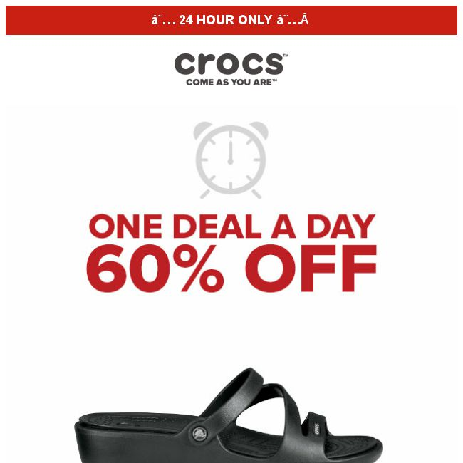 1038324b69d5  Crocs Singapore   1 DEAL 1 DAY   Patricia and more at 60% OFF❗ Today ONLY‼