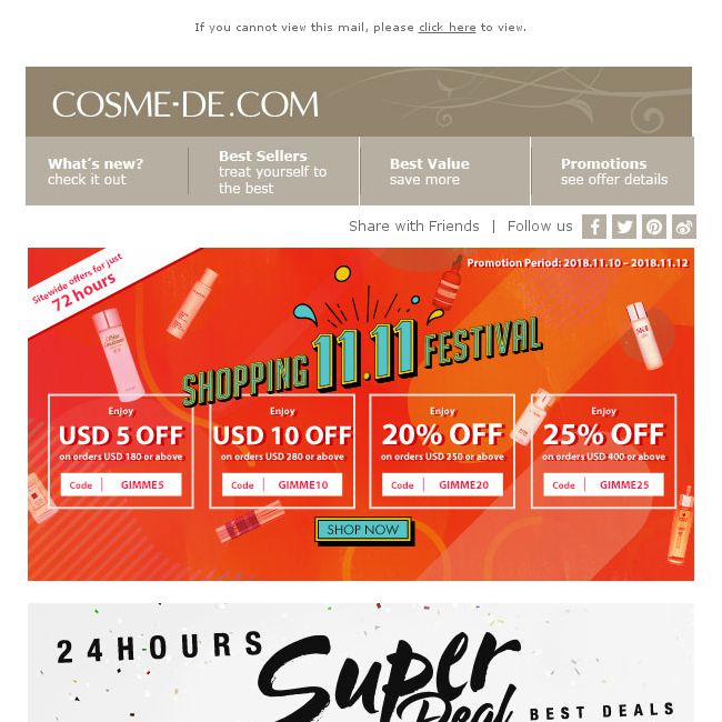 1b57db8c3ee6  COSME-DE.com  11.11 Shopping Festival ♥ Sitewide offers end in 36 hours