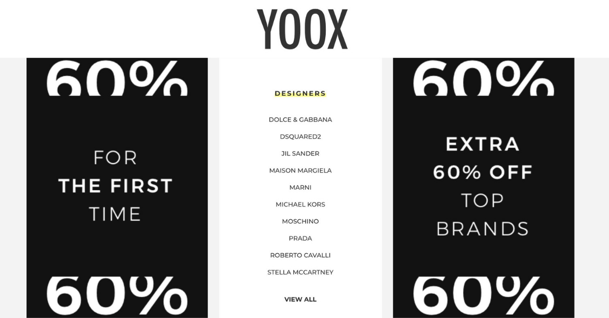 bab1018e0b99 YOOX  Black Friday Sale with Extra 60% OFF Prada