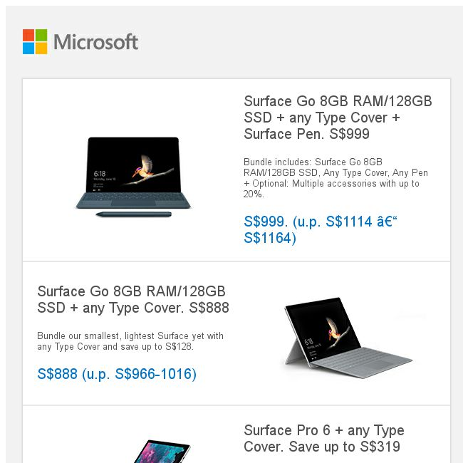 Microsoft Store] Labour Day sale: Surface Go, Surface Pro 6