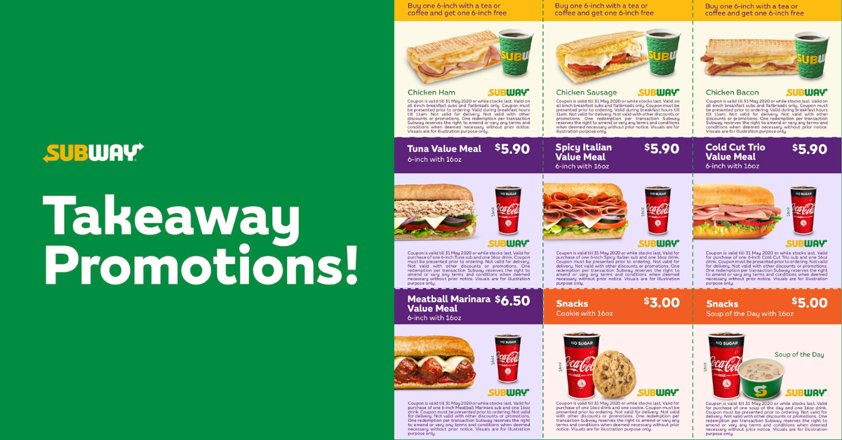 Subway Flash These E Coupons To Enjoy Takeaway Promotions Till 31 May 2020 Bq Sg Bargainqueen